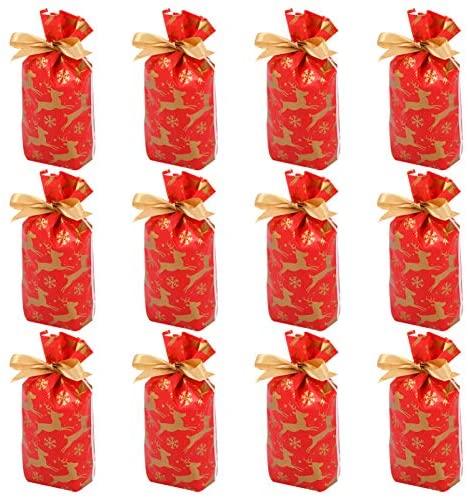 STOBOK 50 Peças de Sacola de Doces de Natal Sacolas de Guloseimas de Natal Com Cordão de Sacolas de Presentes Suprimentos para Festas de Natal