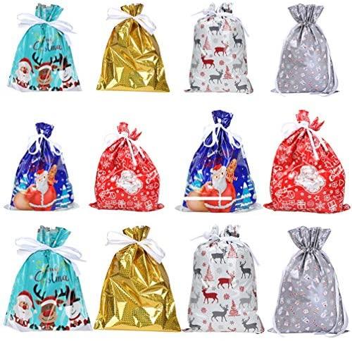 Hemoton 12 Pcs Sacos de Presente de Natal Com Cordão de Natal Sacolas de Presentes de Natal Sacolas de Favores de Festa Goody Doce Deleite Sacolas de Doces para Aniversário Fornecimento