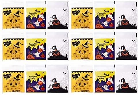 KESYOO 300 peças de sacolas de plástico para doces de Halloween com estampa de morcego de abóbora ou doces para lembrancinhas de festa, biscoitos, lanches, embalagem de alimentos, embalagem para presente (cores sortidas)