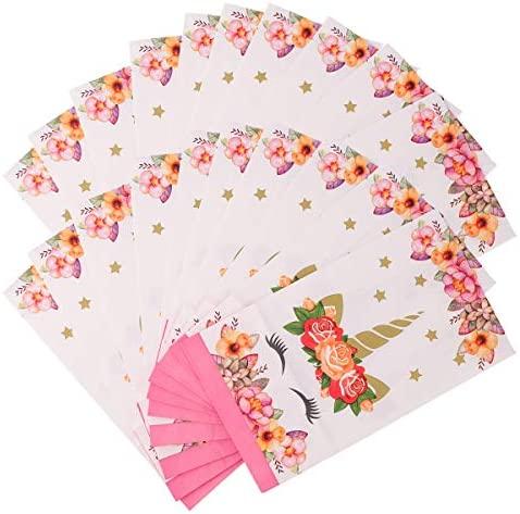 Amosfun Adorável bolsa com estampa de unicórnio criativa de papel kraft bolsa de armazenamento para presente (10 peças/pacote) decorações de festa para aniversário