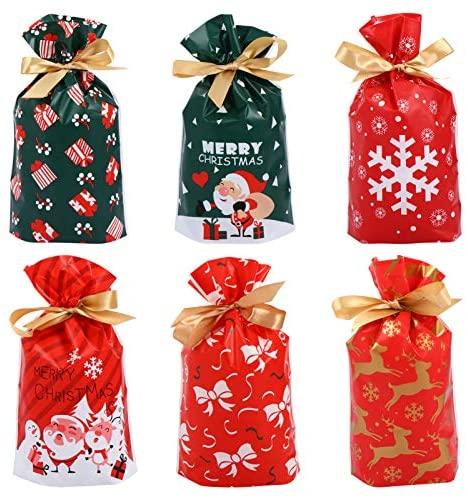 Conjunto de 60 peças de sacolas de presente de Natal com cordão de plástico, sacos de Natal para festas de Natal e festas de Natal para biscoitos doces (23 x 15 cm, cada padrão para 10)
