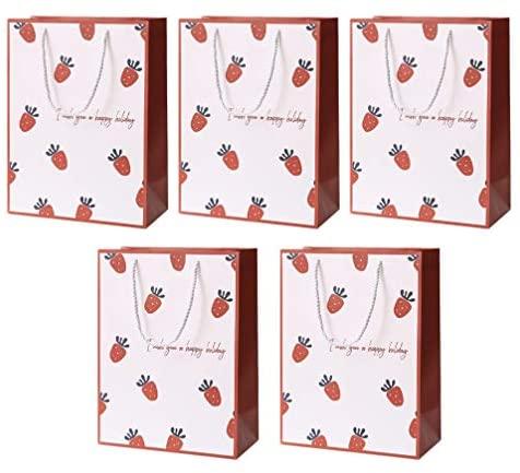PretyzOOM 5 peças de sacolas de papel para presente, bolsas de compras de morango, bolsas de varejo, sacolas de artesanato, sacolas de embalagem para aniversários, Páscoa, casamentos e chás de bebê