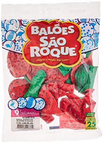 Balão Decorado N.090 Melancia Sortidos – Pacote com 25 Unidade(s), São Roque, 1081289625, Multicor
