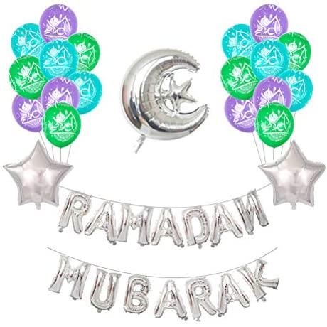 VALICLUD Balões de látex impressos com letras do Ramadan, Mubarak, artigos de festa (prata)