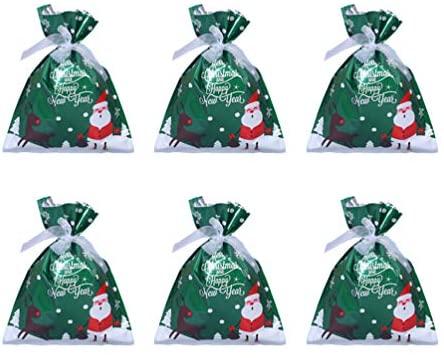 Toyvian 1 conjunto de sacos de plástico para doces de Natal sacolas de presente de Natal para festa de aniversário, lanches, embrulho de festa de casamento (verde)