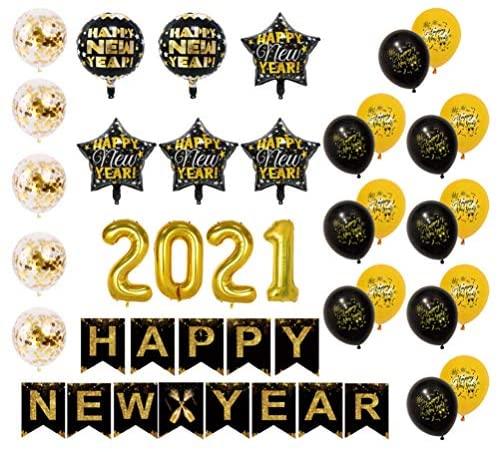 Véspera de Ano Novo Valicclud artigos de festa 2021 balões em forma de estrela, balões confetes de glitter, balões de confete de ano novo