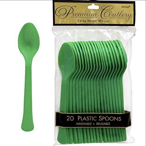 Amscan Suprimentos de festa para colheres de plástico pesado premium, tamanho grande, verde