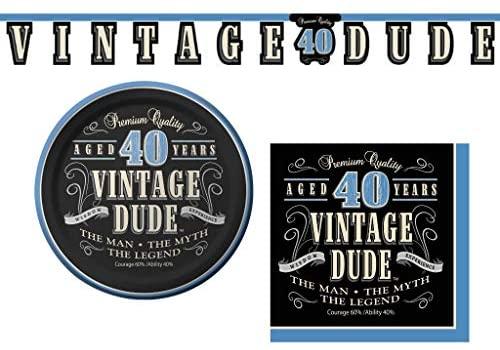 Conjunto de artigos para festa de aniversário de 40 anos do tipo vintage – 3 itens: pratos de aperitivo/sobremesa, guardanapos e faixa decorativa