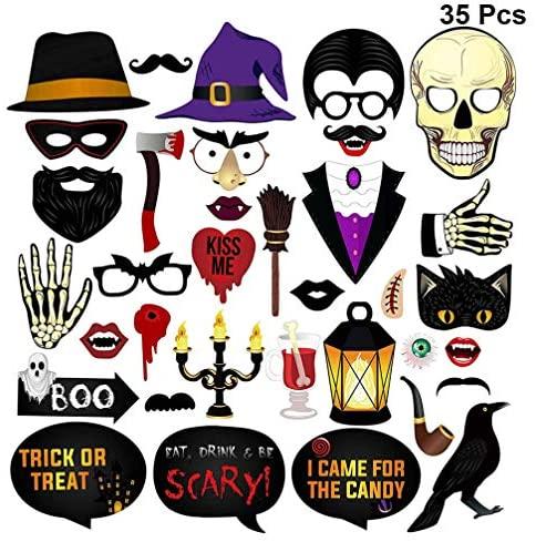 Acessório para fotos de Halloween KESYOO, 35 peças, acessório para festa de selfie, fantasia chique, fantasma, festival, artigos de festa (cores sortidas)