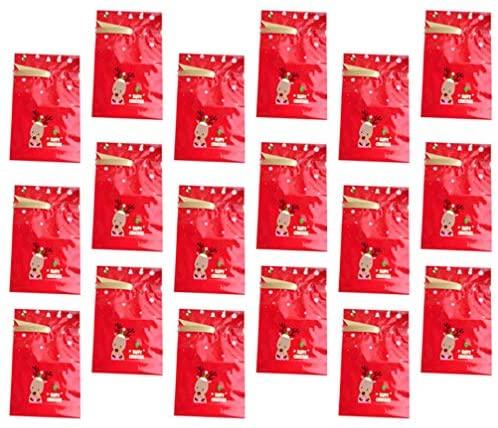 NICEXMAS 20 Peças de Sacola de Doces de Natal Sacolas de Presente de Natal Com Cordão de Rena Sacolinhas para Festa de Natal Biscoitos Biscoitos de Natal Suprimentos