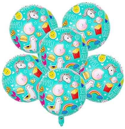 10 balões redondos de 45,7 cm, alpaca arco-íris, balões de alumínio de alumínio para decoração de festa artigos para festa