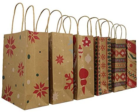 Saco de papel Kraft de Natal da Vosarea com alça para presente, bolsa de presente de festa de Natal com 24 peças – estilo aleatório
