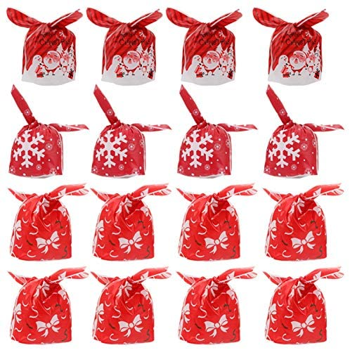 NICEXMAS 150Pcs Sacola de Doces de Natal Sacolas de Presente de Natal Papai Noel Saquinhos de Biscoitos de Guloseimas Doces para Festas de Natal