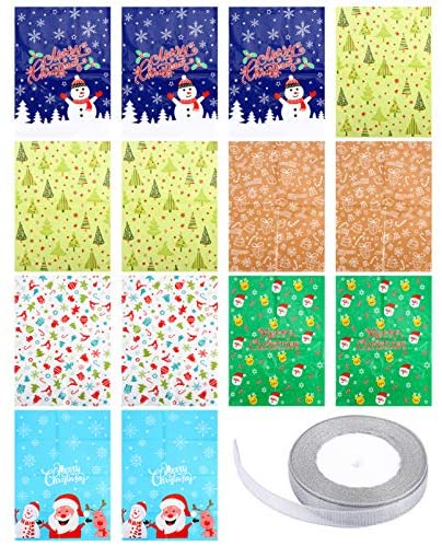 KESYOO 15 Unidades de Plástico de Natal para Doces Sacos de Armazenamento de Presentes de Doces Sacos de Doces de Violoncelo de Natal Lembrancinhas de Festas (Cores Sortidas)