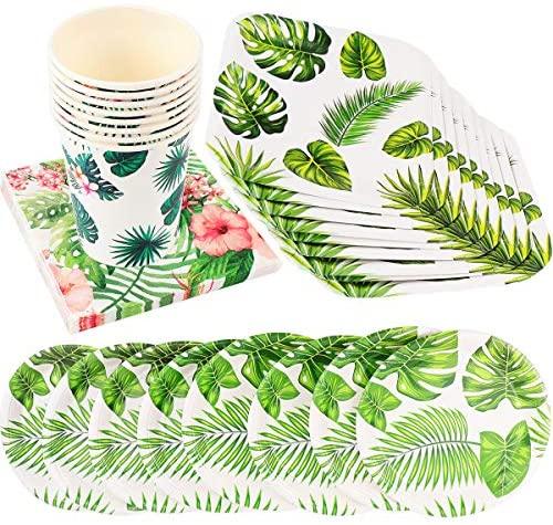 Valicclud 1 conjunto de pratos de papel para festa, decoração havaiana, louça, artigos de festa de aniversário bonitos para festa em casa ou celebração (verde)