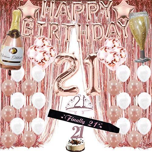 Cortinas de franja de alumínio com 21 decorações de aniversário de ouro rosa para meninas, 21 artigos de festa para ela (mulheres), inclui cortinas de franja de alumínio, balões de feliz aniversário, tiara de aniversário e topo de bolo