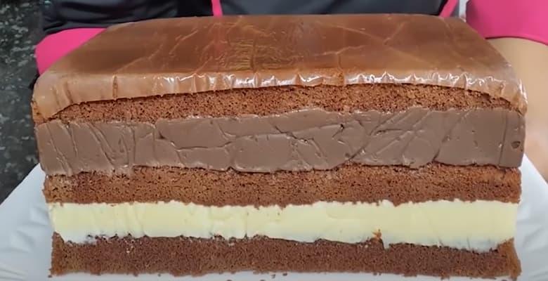 Bolo 2 Amores Sabor Creme e Chocolate
