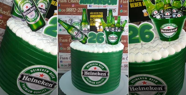 Bolo com Tema Cerveja Heineken para Aniversário