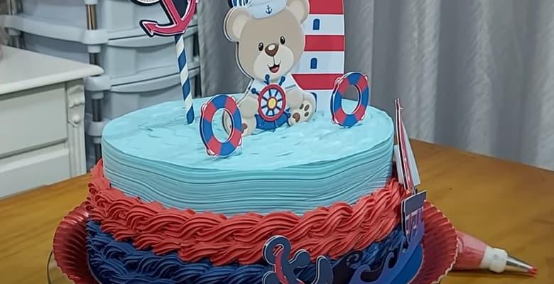 Bolo Ursinho Marinheiro - Tema Urso para Aniversário